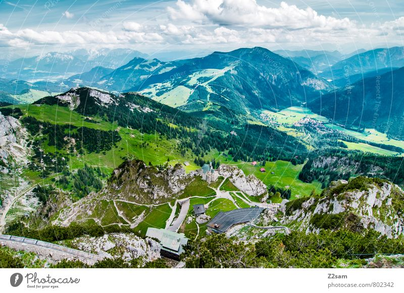 Wendelstein-Bayrischzell etc. Environment Nature Landscape Sky Clouds Summer Beautiful weather Rock Alps Mountain Peak Esthetic Sustainability Natural Blue