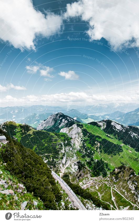 Wendelstoar Hiking Environment Nature Landscape Sky Clouds Summer Beautiful weather Meadow Forest Rock Alps Mountain Peak Esthetic Gigantic Infinity
