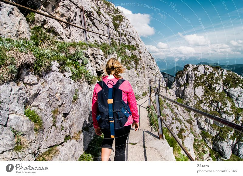 descent Vacation & Travel Tourism Trip Summer vacation Mountain Hiking Feminine Young woman Youth (Young adults) 18 - 30 years Adults Nature Landscape Sky