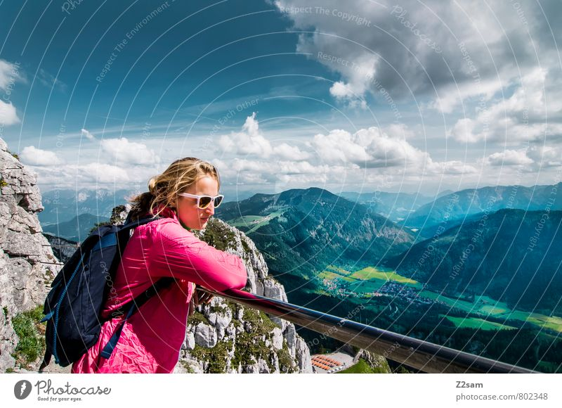 pure relaxation Lifestyle Vacation & Travel Tourism Trip Summer Summer vacation Mountain Hiking Climbing Mountaineering Feminine Young man Youth (Young adults)