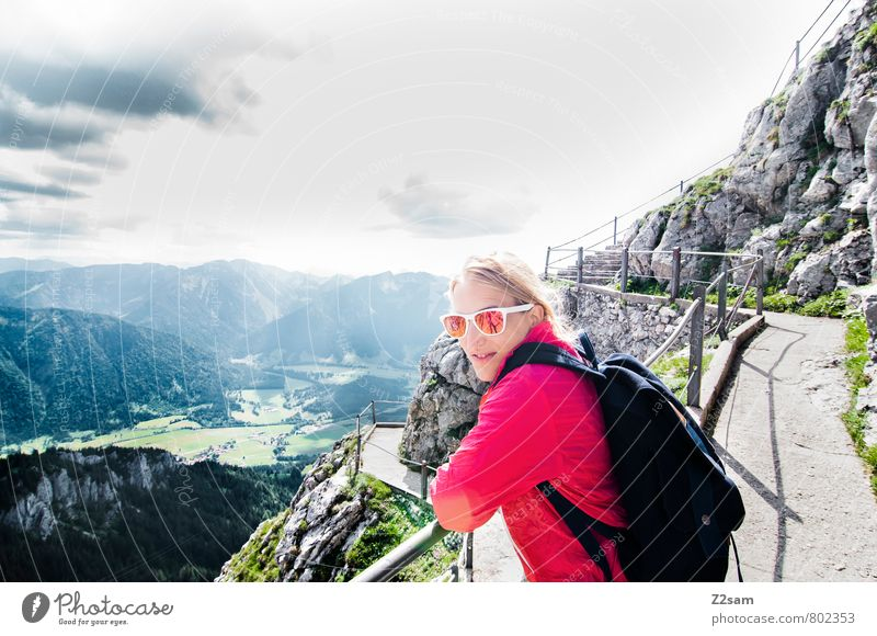 Good prospects Vacation & Travel Tourism Trip Summer vacation Mountain Hiking Feminine Young woman Youth (Young adults) 18 - 30 years Adults Nature Landscape