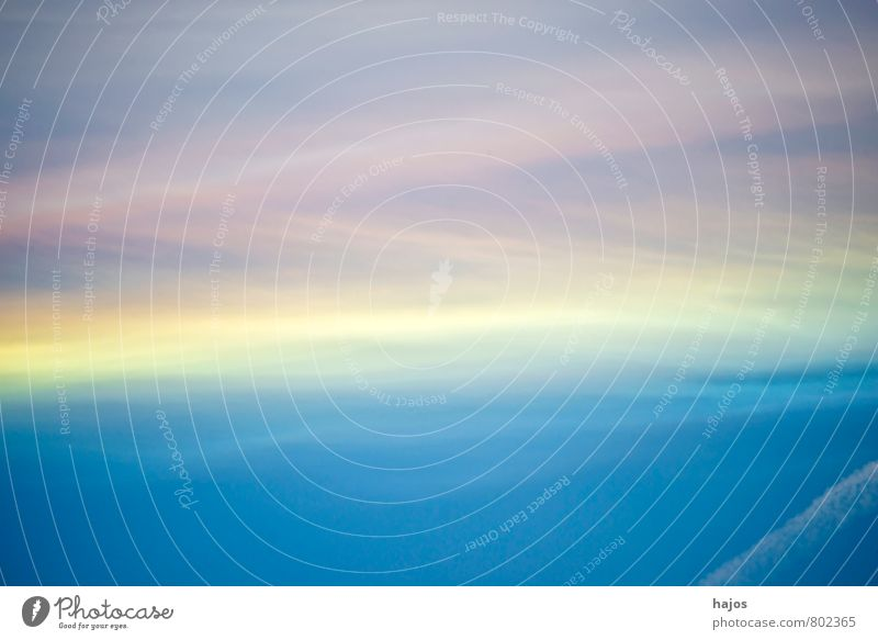 Sky with condensation stripes and layers of paint Stripe Soft Pink Blue Dye Level Yellow White Vapor trail background Nature Colour photo Exterior shot Abstract