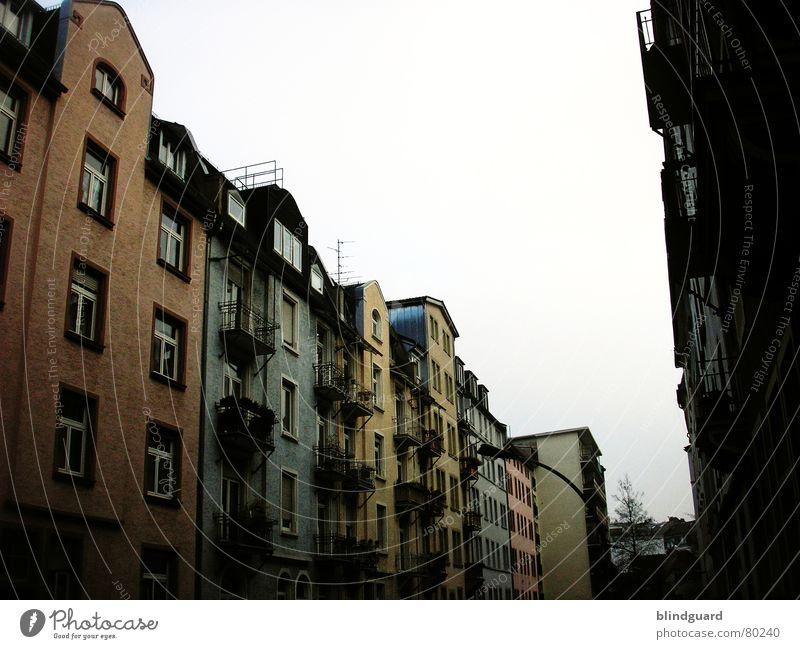 Sky City House (Residential Structure) Colour Dark Window Sadness Tall Facade Balcony Frankfurt Main Quarter Old building Shutter