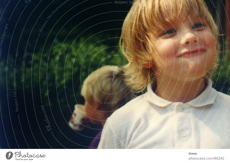 Child Beautiful Sun Green Joy Face Eyes Boy (child) Garden Laughter Mouth Funny Blonde Eating Happiness Beverage