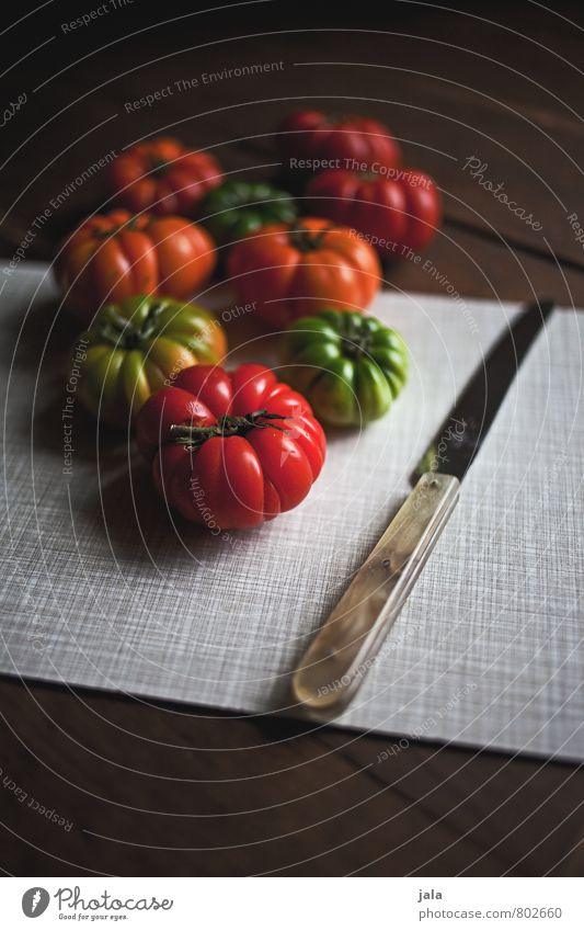 Healthy Eating Natural Food Fresh Nutrition Vegetable Delicious Appetite Organic produce Knives Tomato Vegetarian diet Chopping board Wooden table