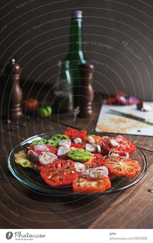 tomato salad Food Vegetable Herbs and spices Cooking oil Tomato salad Nutrition Lunch Dinner Organic produce Vegetarian diet Slow food Plate Knives