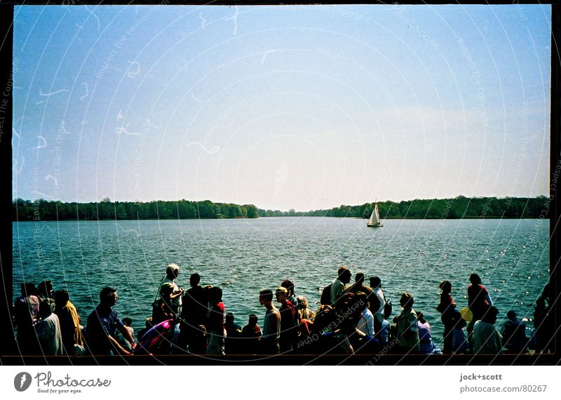 Sea Party Feasts & Celebrations Group Water Cloudless sky Beautiful weather Lakeside Brandenburg Sailboat Movement Going Far-off places Together Moody