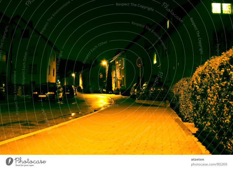 Green Calm Loneliness Yellow Street Lamp Dark Rain Contentment Flat (apartment) Wet Sleep Asphalt Long Serene Sidewalk