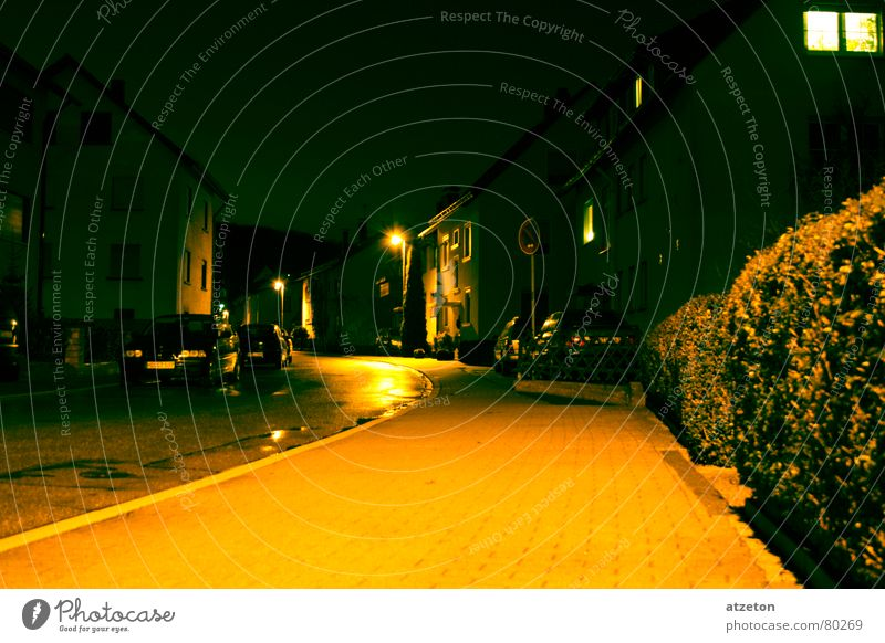 Main Street II Origins Yellow Green Dark Loneliness Night Light Lamp Main street Rain Wet Sidewalk Curbside Right ahead Flat (apartment) Home country Calm