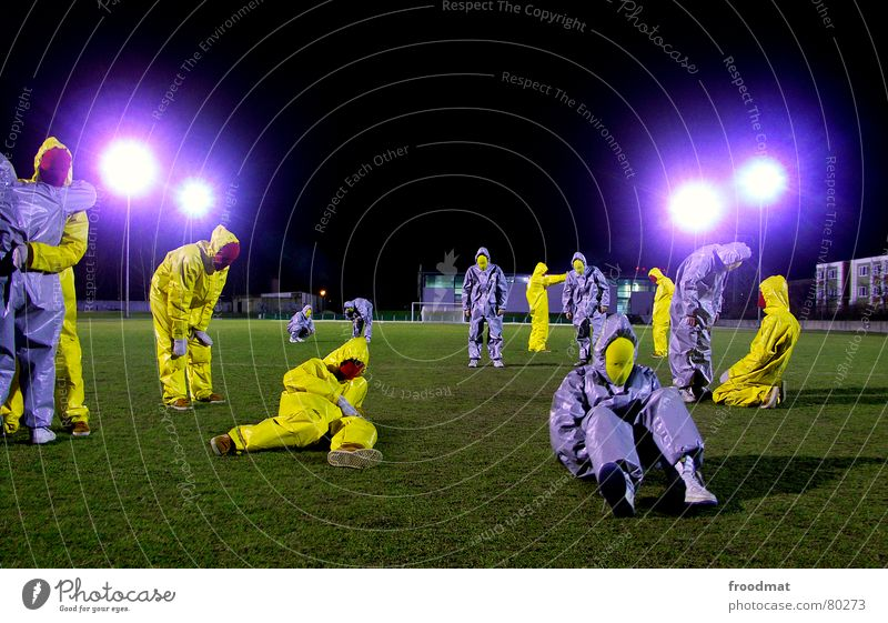Green Joy Black Yellow Gray Art Funny Crazy Mask Suit Stupid Surrealism Gesture Rubber Football pitch Futile