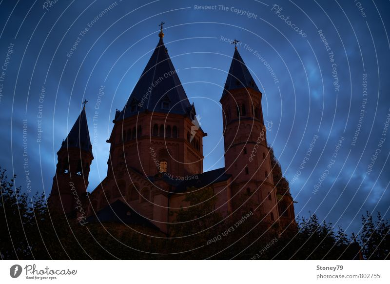 Mainz Cathedral Clouds Town Downtown Church Dome Manmade structures Building Architecture Basilica Tourist Attraction Dome of Mainz Crucifix Threat Dark Blue