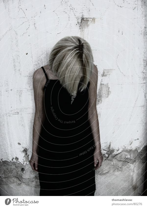 no face Blonde Woman young hair shame Clothing Wall (barrier)