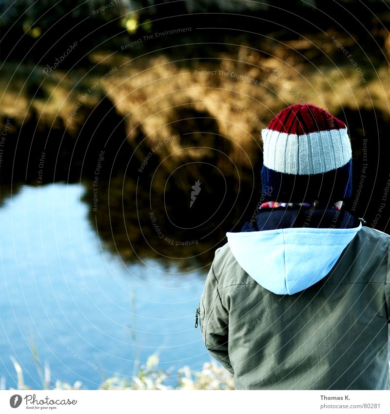 Child Nature Water Loneliness Boy (child) Autumn Grass Sadness Coast River Jacket Cap Toddler Brook Hooded (clothing) Dike