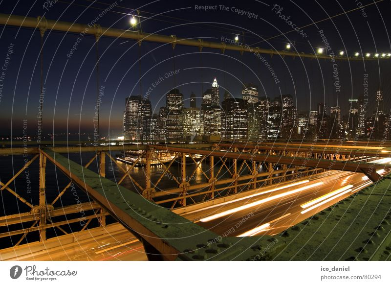 City Dark Lighting High-rise Transport Bridge USA River To go for a walk Skyline Steel cable Traffic infrastructure Americas Downtown Jetty Dusk