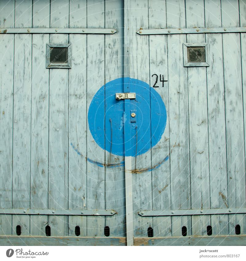 Happy squared Street art Sixties Garage door Lock wood Digits and numbers Rectangle Circle smile Happiness Positive Blue Uniqueness Optimism Dream Claw mark