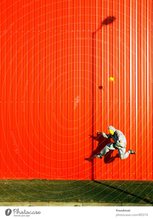 Red Joy Yellow Wall (building) Jump Gray Art Funny Flying Crazy Lawn Culture Mask Exceptional Suit Lantern