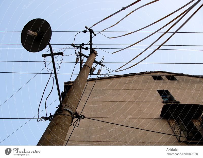 china_08 China Electricity Lamp Electricity pylon House (Residential Structure) Worm's-eye view Wall (building) Provision Window Lantern Decline Energy industry