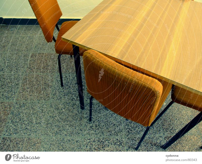 Old Work and employment Wall (building) Think Sit Empty Table Perspective Retro Communicate Chair Education Meeting Tile Furniture Language