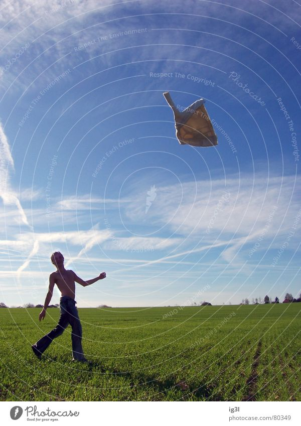 Human being Sky Man Green Joy Meadow Freedom Grass Spring Happy Jump Moody Contentment Field Flying Climate