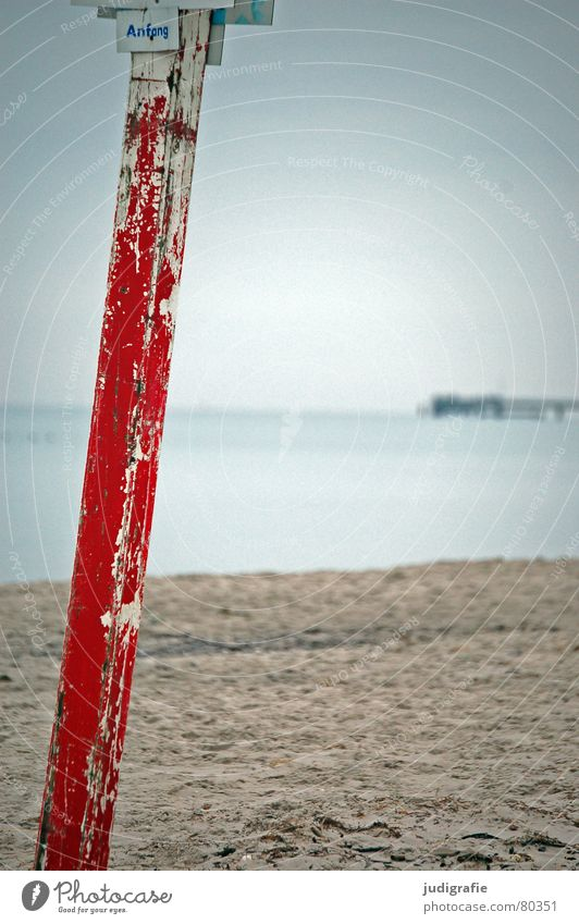 Water Sky Ocean Red Winter Beach Colour Wood Sand Coast Signs and labeling Beginning Signage Baltic Sea Electricity pylon Column