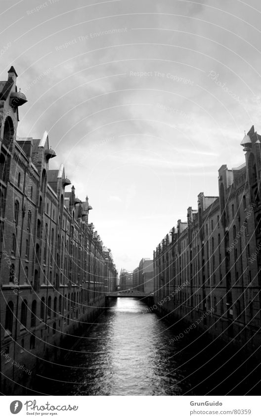 Hamburg - Speicherstadt Old warehouse district House (Residential Structure) Architecture simply awesome Bridge Sewer Sky Black & white photo