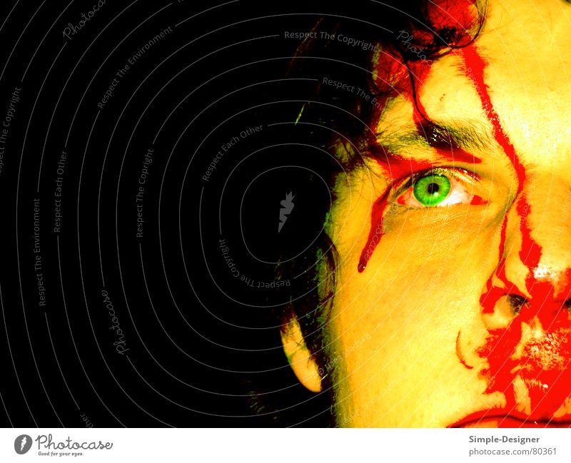 bloody body Green Red Man Blood Face Eyes Mouth Nose Hair and hairstyles Ear