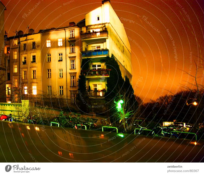 neighbor Awareness Night Long exposure House (Residential Structure) Town house (City: Block of flats) Balcony Window Story Staircase (Hallway) Parking lot