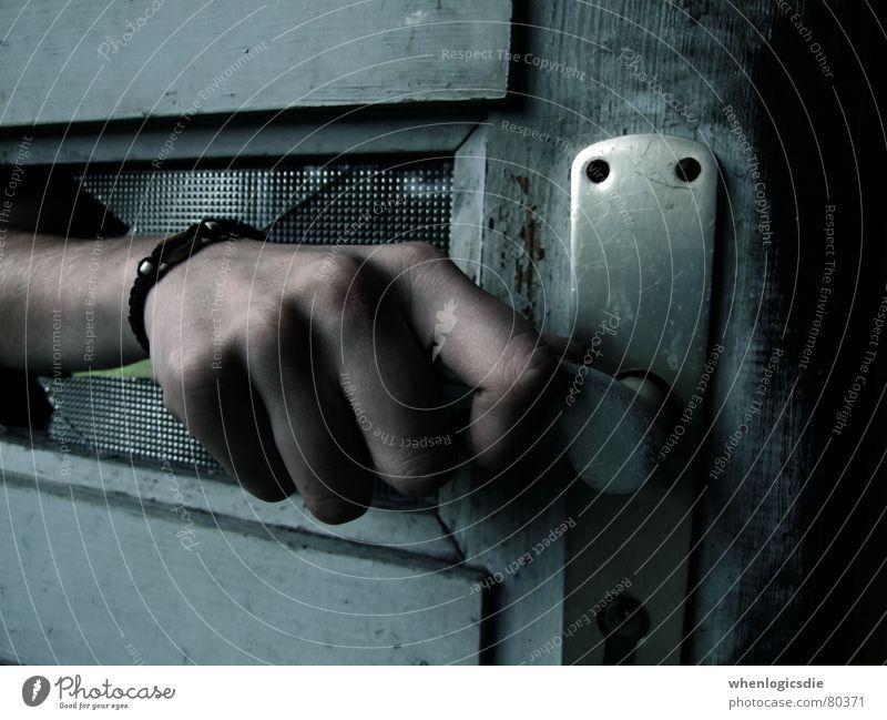 open Hand Door handle Broken Insecure Ambiguous Dangerous Old Glass