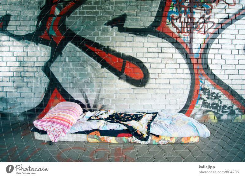 homeless person Town Living or residing Silver Homeless Bedclothes Sleep Mattress Duvet Pillow Ceiling Underpass Social Unemployment Bridge Under a bridge