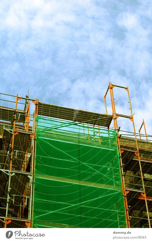 Sky Green Blue Clouds Building Architecture Net Scaffold Collateralization