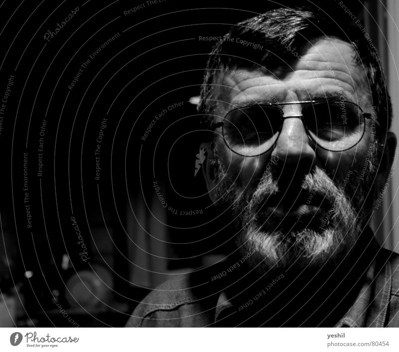 The Philosopher Merciless Dark Eyeglasses Facial hair Wisdom Think Smart Man Beard Shirt Black Forehead Light Glass Fear Perspective Black & white photo Panic
