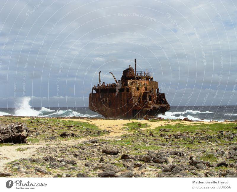 Stranded, rusted shipwreck Island Wreck Rust Waves Water Wind coast Threat Gigantic Creepy Broken Adventure Stagnating Environmental pollution Decline