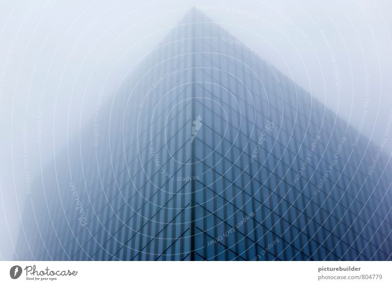 skyscrapers Fog New York City Town Downtown High-rise Architecture Facade Glass Blue Fear of heights Perspective Colour photo Exterior shot Deserted