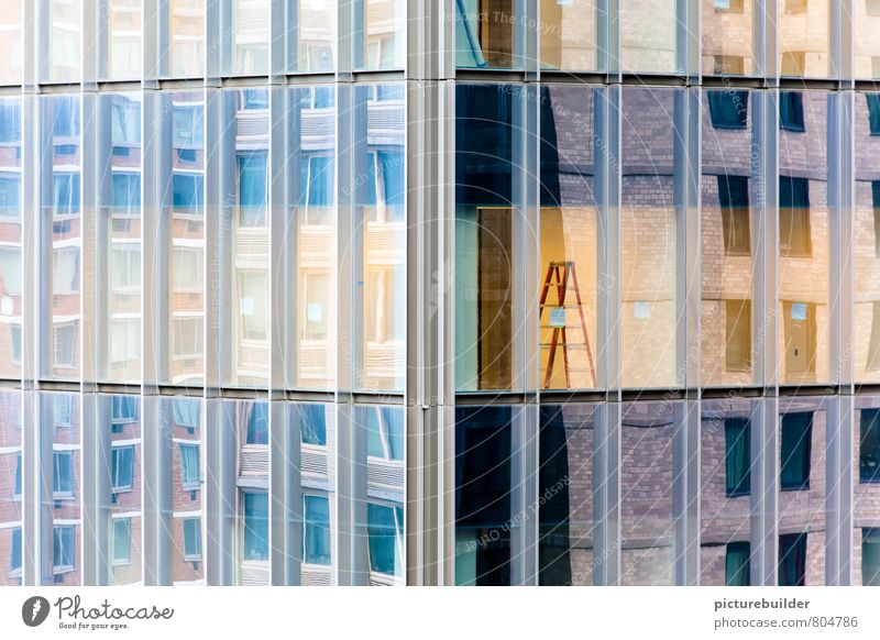 Blue City Yellow Work and employment Facade High-rise Beginning Downtown Ladder