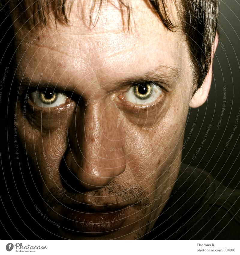 Human being Man Face Black Eyes Dark Style Hair and hairstyles Head Mouth Lighting Power Fear Funny Planning Nose