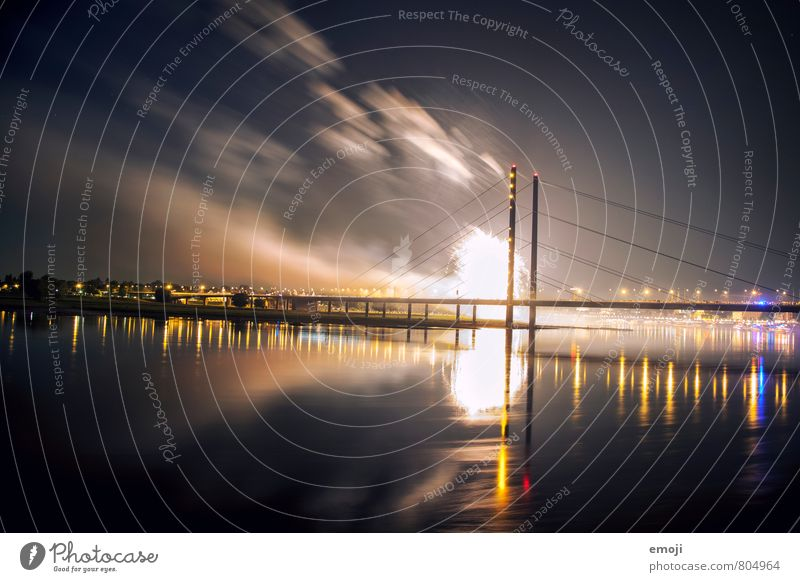 Düsseldorf Water Sky River bank Town Bridge Threat Dark Firecracker Explosion Duesseldorf Colour photo Exterior shot Deserted Night Light (Natural Phenomenon)