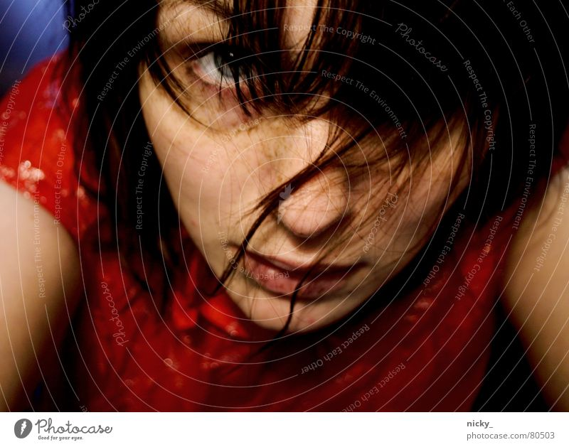 Woman Red Loneliness Face Eyes To talk Hair and hairstyles Music Nose Ask How Obedient Oversleep