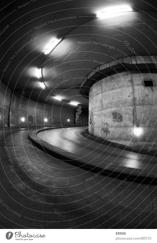 Black Street Lamp Concrete Tunnel Cologne Steel Traffic infrastructure Deep Column Downward Neon light Garage Parking garage Curved Monochrome
