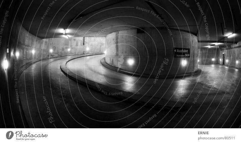 Cologne Underground 2 Deep Garage Underground garage Parking garage Night Light Neon light Concrete Column Lamp Steel Black Curved Fisheye Monochrome