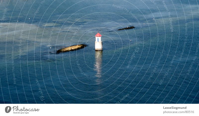 small lighthouse Norway Lighthouse Ocean Individual Atoll Summer Fjord holm Island Blue Water Rock small island