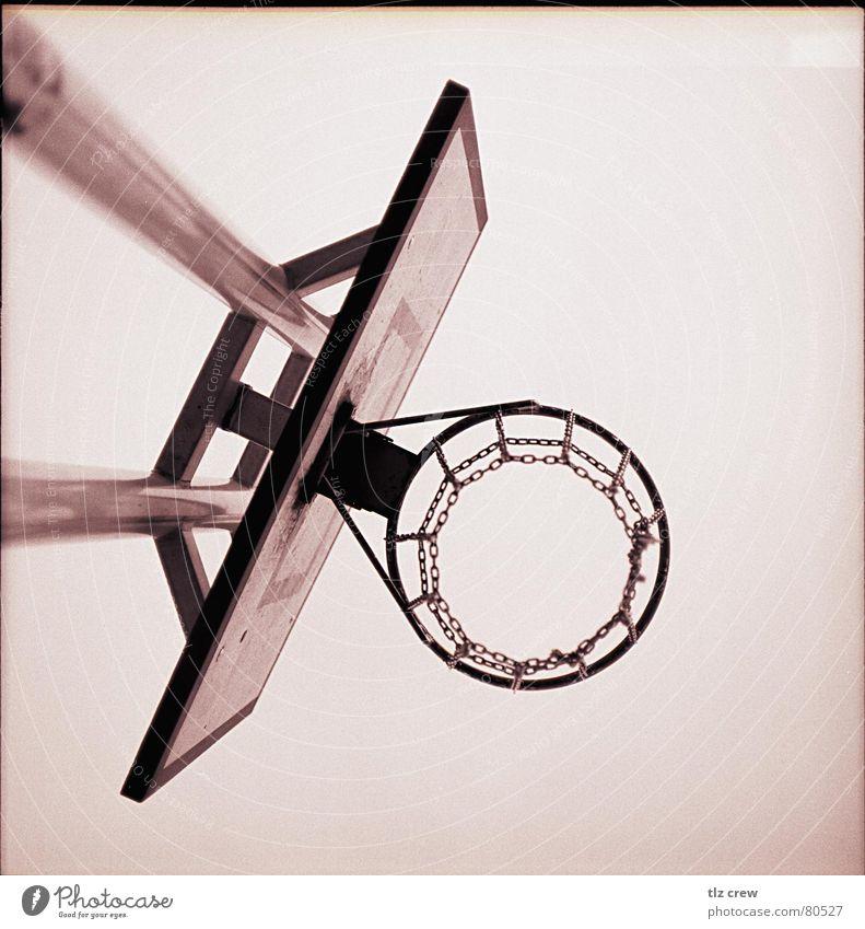 basket Medium format Analog Park Quarter Photographic technology Sports Basketball Black & white photo small town