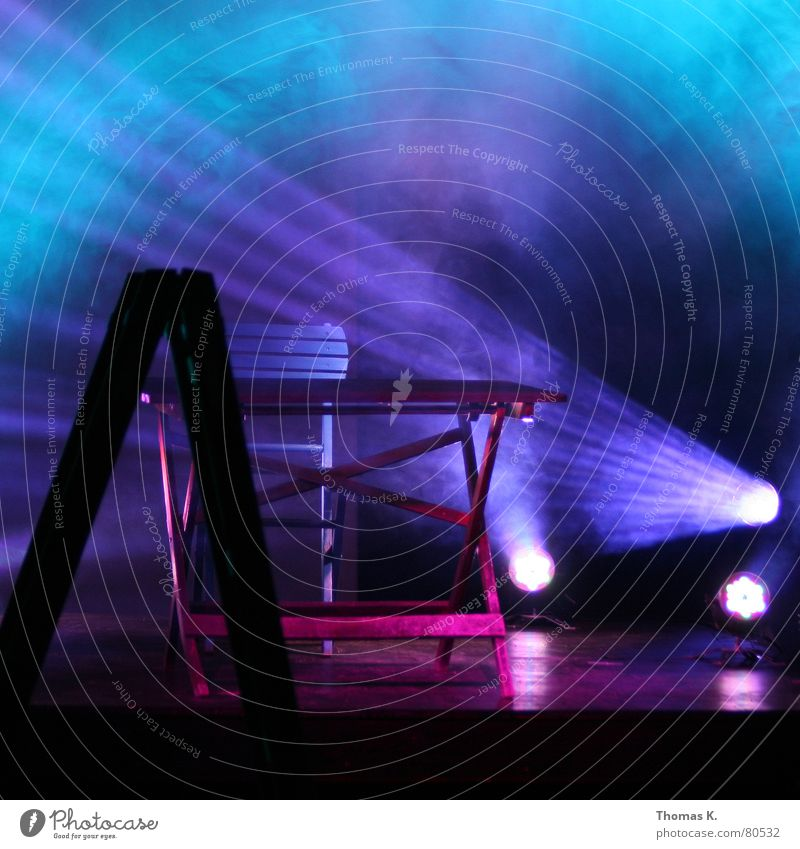 Blue Dark Emotions Music Wood Moody Lighting Fog Table Empty Cable Chair Floor covering Shows Concert Light