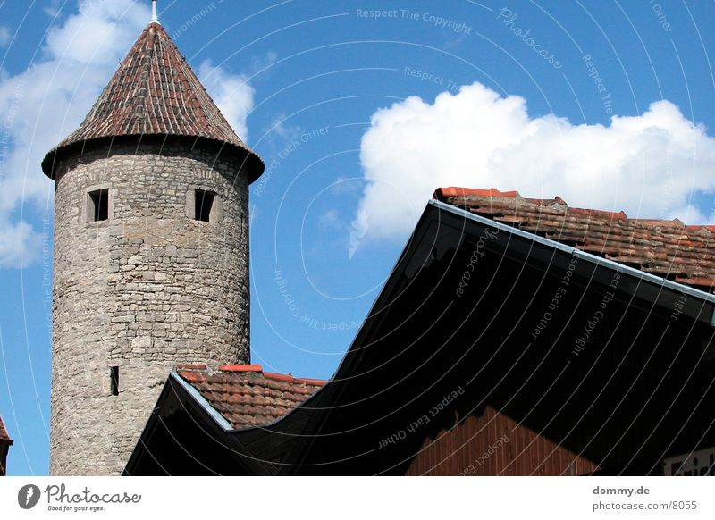 city wall Barn Heidingsfeld Würzburg Watch tower Clouds Architecture City wall Tower Sun