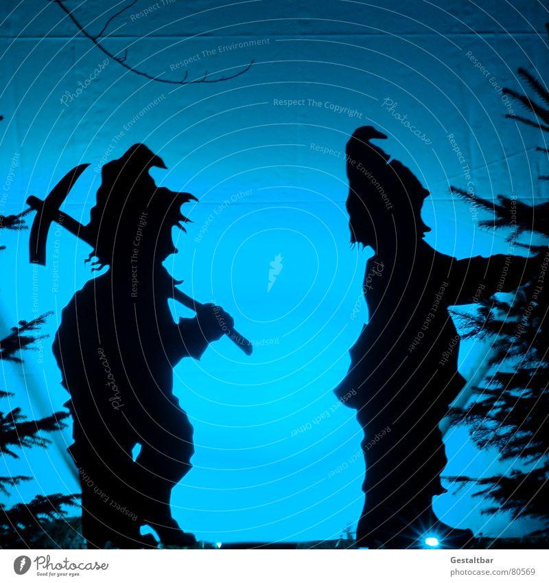 Two of 7 Dwarves Dwarf Gnome Fairy tale Silhouette Santa Claus hat Goblin Fantastic Fairytale landscape Formulated Art Culture Shadow Hoe