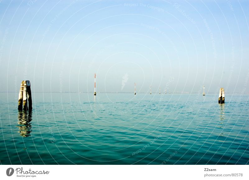Sky Ocean Green Blue Calm Watercraft Wet Signs and labeling Transport Italy Gate Electricity pylon Pole Venice Drop anchor Waterway