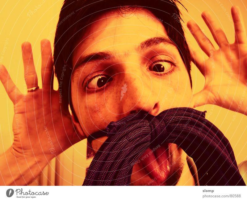 Grimace Joy grimace make faces funny moustache false moustache warm color young man squinter