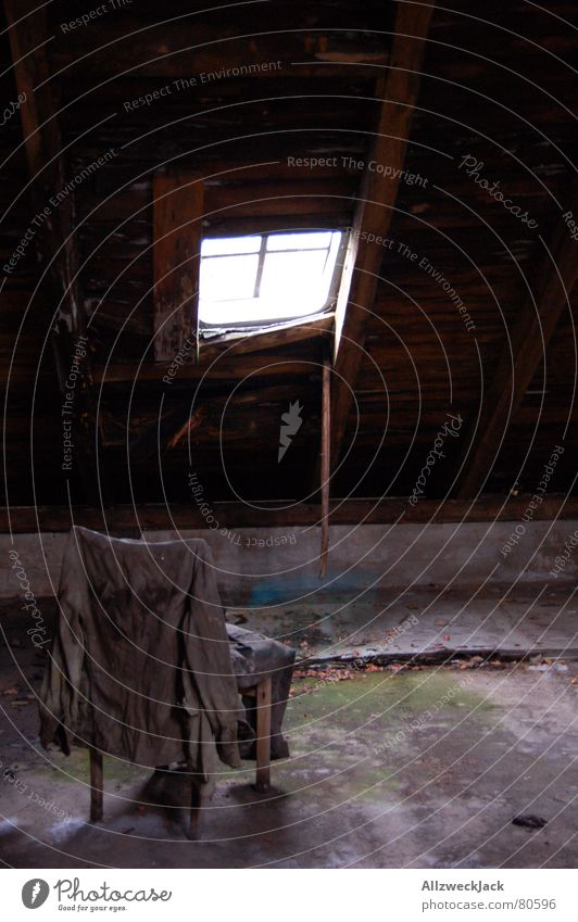 attic tristesse Clothing Wear Window Skylight Hang up Uniform Light Window transom and mullion Loneliness Shaft of light Attic Things Deserted Gloomy Prop