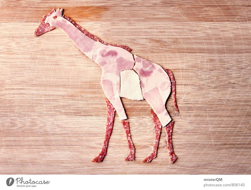Sausage lover. Gabi Giraffe. Art Esthetic Food photograph Healthy Eating Dish Animal Sausages production Ham Salami Playing Chopping board Creativity