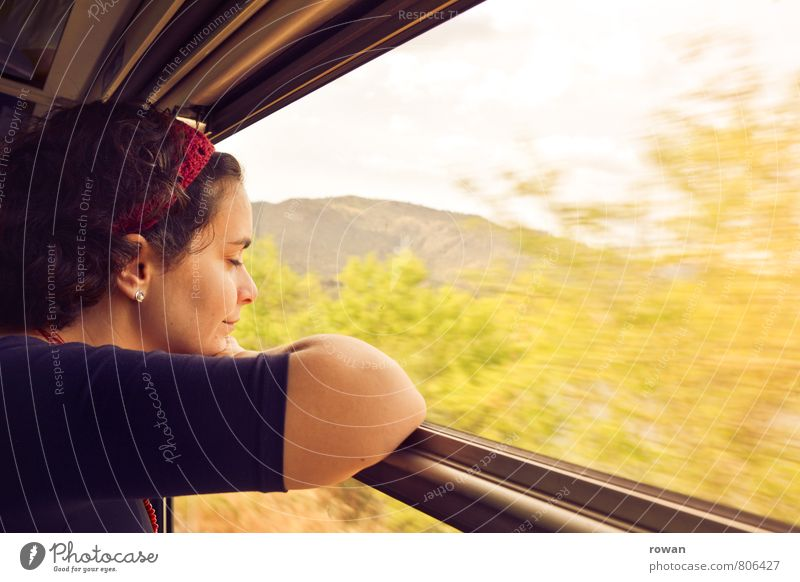 Human being Woman Vacation & Travel Youth (Young adults) Sun Relaxation Young woman Adults Warmth Movement Travel photography Feminine Happy Train window
