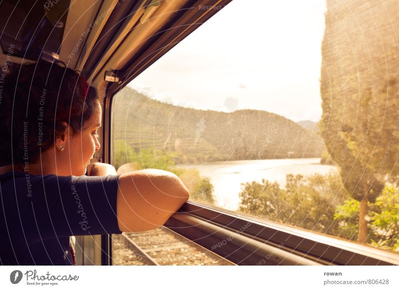 Human being Woman Vacation & Travel Youth (Young adults) Relaxation Young woman Far-off places Adults Warmth Feminine Freedom Train window Tourism Trip To enjoy Vantage point